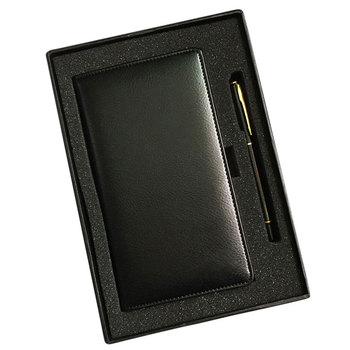 Customized Office Promotion Gift Set Leather A6 Notebook With Pen