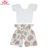 Baby clothes Wholesale Toddler swing clothing set Cute Infant Girl pink ruffle sleeve crop top and bloomer set
