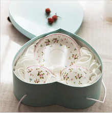coffee bone china ceramic tea cup saucer set heart shaped promotive christmas corporate wedding gift boxes