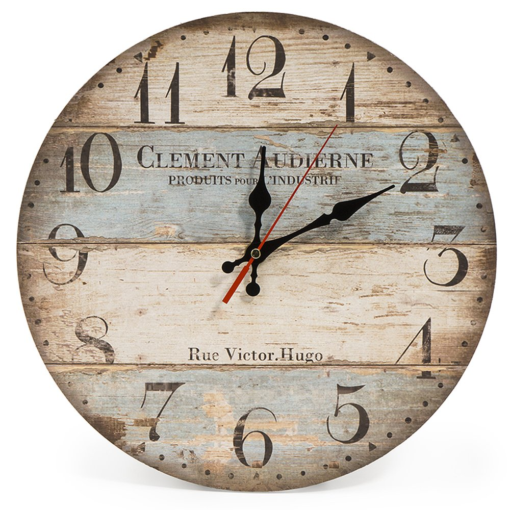 Vintage Rustic Shabby Chic Style 12 Inch Silent Vintage Design Wooden Round Wall Clock for Home Decoration