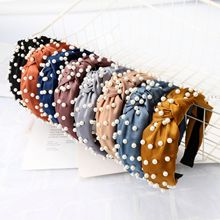 LRTOU Wholesale Korea Fashion Womens Hair Accessories Head Band Custom Women Fabric Tie Knot Pearl Plastic <strong>Headband</strong> For Girls