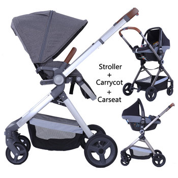 Baby strollers 3 in 1 leather baby pram europe baby strollers car seat  basket leather material golden frame