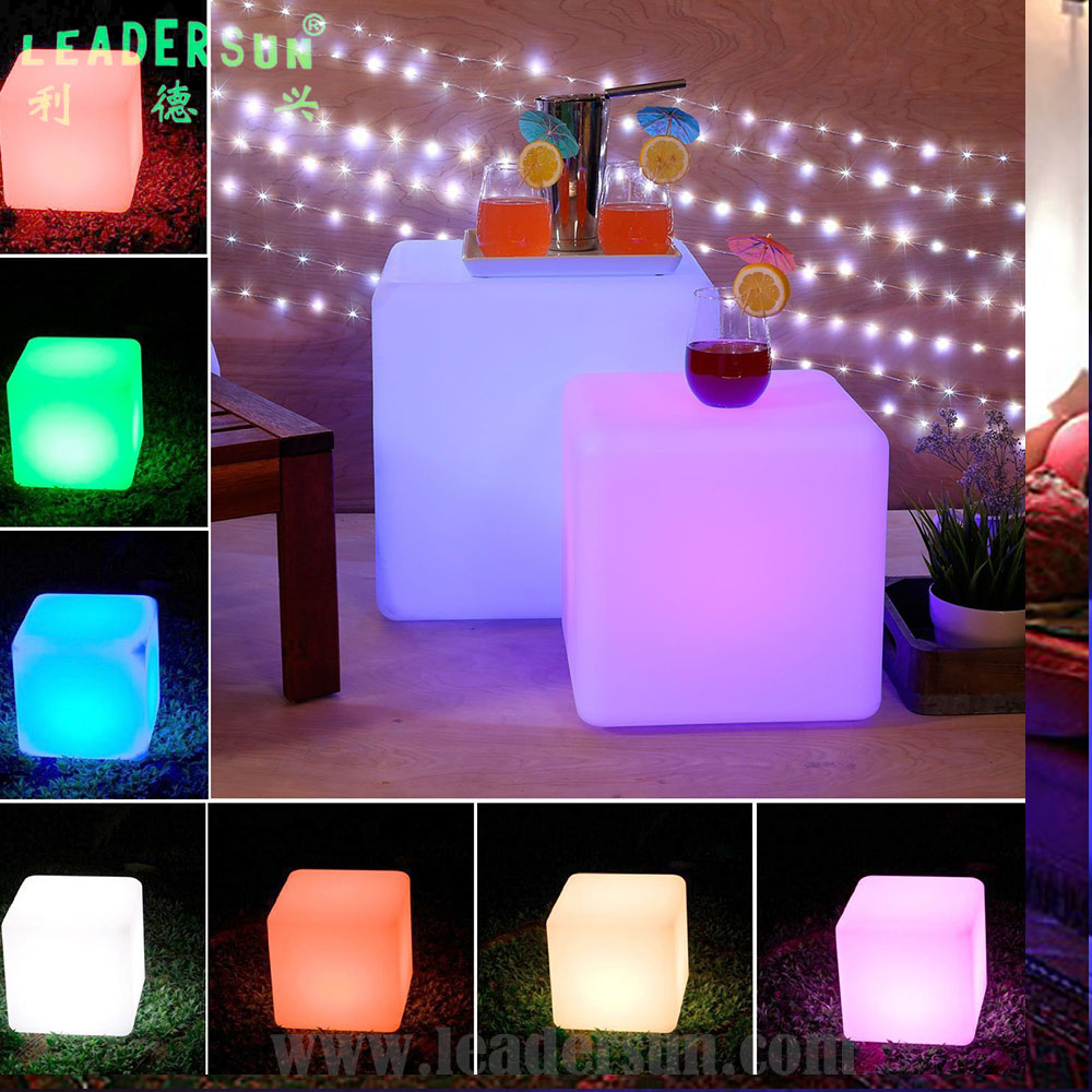 20CM Multi color night lights <strong>LED</strong> cube reading table lamp for home and restaurants