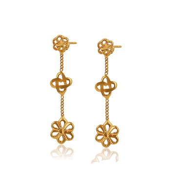 98034 xuping jewelry gold earring gold dangling earring for women 24k dubai flower shaped earring jewelry
