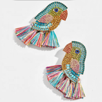 Kaimei 2019 newest fashion hot selling cute parrot bird rainbow full diamond rhinestone drop tassel earrings for women gifts