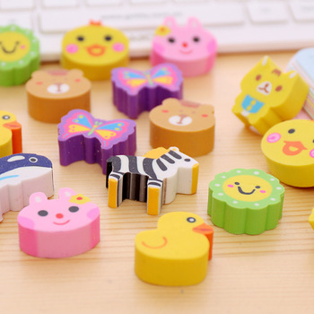 cartoon animal fruit eraser for kids with hole/without hole