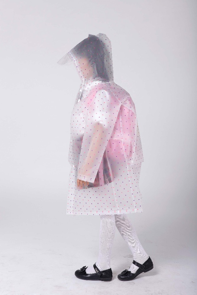 Clear school bag rain coats print polka dots for students