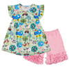 Spring and summer baby clothing set girls flutter dress outfits kids wholesale print clothes ruffle shorts