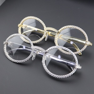 Custom Fashion Hip Pop Jewelry 18K Gold Diamond Iced Out Sun Glasses