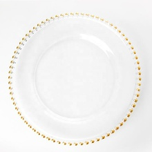 wholesale cheap hotel dinning tableware gold glass beaded charger <strong>plate</strong>