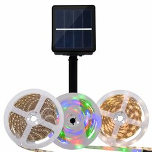 Outdoor Solar Powered Flexible Waterproof 3M <strong>rgb</strong> and color white Led Strip Lights