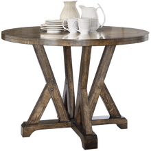 737-120 country style solid wood base w/Oak veneer NC finishling w/SW paint 30 sheen round dining <strong>table</strong>
