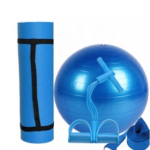 Wholesale anti burst yoga exercise PVC yoga ball anti slip yoga mat and durable pedal resistance band