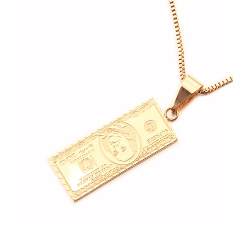 Hipster <strong>100</strong> dollar bill dollar sign popular logo hiphop necklace accessories custom stainless steel pendant custom jewelry