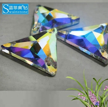 Y1001 SS10 crystal  AB sew on stones, Triangle flat back sew on stones crystal,Wholesale sew on crystal stones for wedding dress
