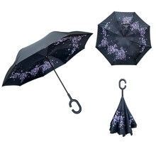 YS-8010 Custom <strong>Sakura</strong> Printed Umbrella Hands Free Handle Inside-out Outdoor Car Inverted Reverse Umbrella
