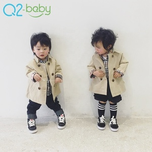 New spring double-breasted windbreaker infant jacket wind coat small trend casual unisex baby dust coat 2268