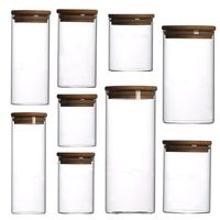 8 ounce glass jar glass tea canister glass container bamboo lid