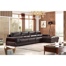 Chinese culture wood arm leather corner sofa