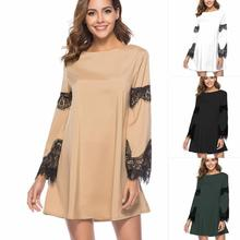 2f4b38ddcd Add to Favorites · Casual Autumn Summer Dress Women New Sexy Hollow Out Lace  Patchwork Sleeve Dress Vintage Elegant Party Dresses