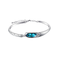 Luxury design silver color white gold plated cuff gemstone bracelet