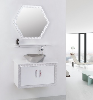 Silver Color Classic Design  Bathroom Vanity Furniture For Hotel Space Saver