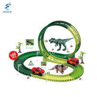 Linxtech 108PCS 360 Degree Dinosaur Rail Car Toy Set Assembling Puzzle For Children Electric Rail Car With Light DIY Model