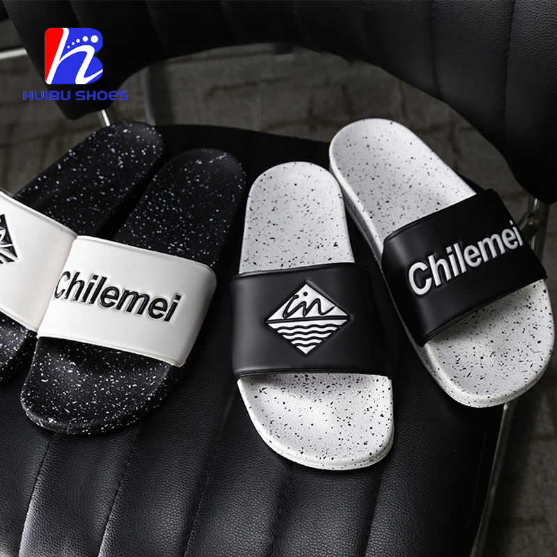 Customized Logo Summer Beach Slide Sandals Casual Leather Slippers For Men