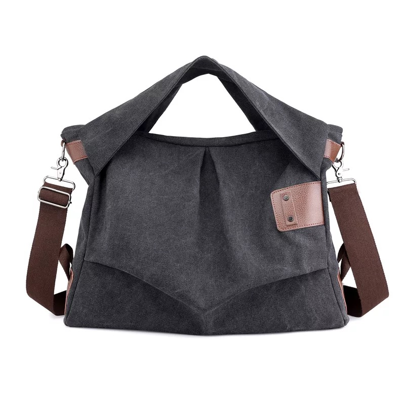 2019 Distressed Canvas Bag Pleated Hobo <strong>Totes</strong> with Ruched Canvas Handle Shoulder Bags
