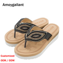 High Quality Platform <strong>Slipper</strong> for Womens Wholesale Leisure Ethnic Style Thongs Beach Flat Flip Flops OEM Customize