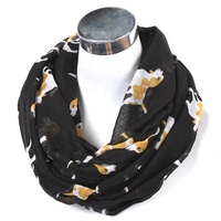 fashionable lady neck warm dog printed circle style winter voile scarf