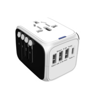 All in One Universal International Plug Adapter 3 USB Port type C World Travel AC Power Charger Adaptor with AU US UK EU Plug