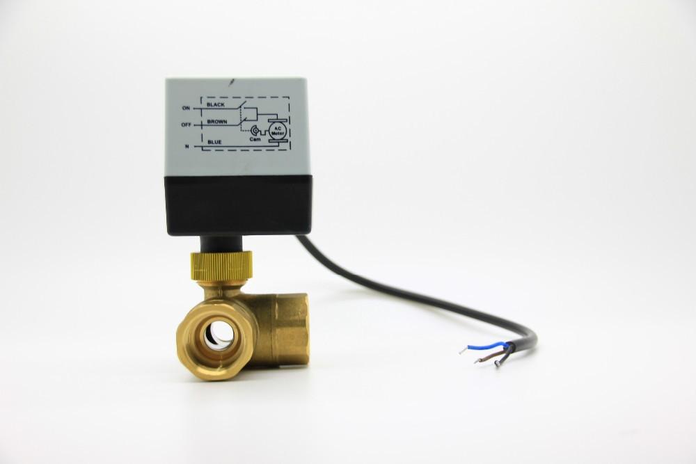 24v 230v 3 way electric motor motorized brass water flow for Motorized flow control valve