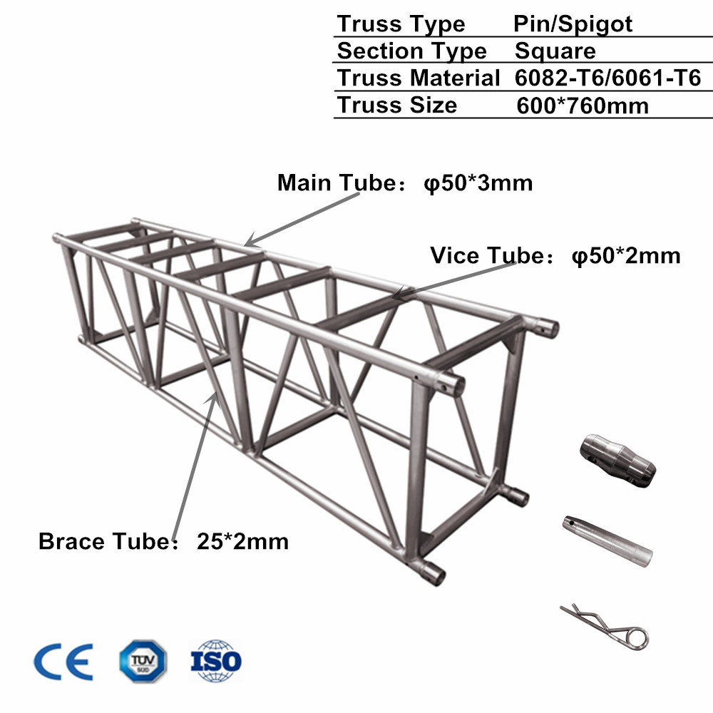 600*760mm used big heavy duty truss aluminum high quality truss <strong>stage</strong>