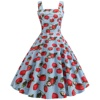 Women Strawberry Print Wide Strap Dress Woman Polka Dots Square Neck Retro Swing Vintage Dress Pink Blue Party Sundress SP-3180