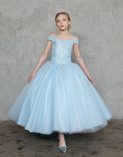 ZH1911Q 2019 Spaghetti Straps Princess Flower <strong>Girl</strong> <strong>Dresses</strong> for Wedding Off Shoulder Lace Applique Light Blue <strong>Girls</strong> Pageant gown