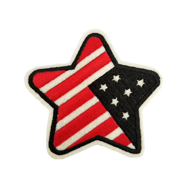 Clothing Iron On Made Embroidery Flag Logo Felt Custom Patch Embroidered