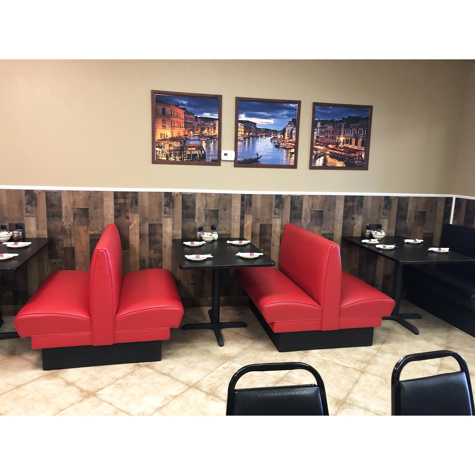 Single double sides restaurant booth and table USA project