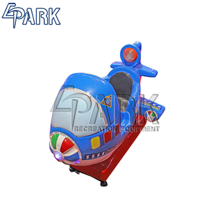 Kids popular Coin operated Kids swing car blue plane kiddie ride with fiberglass material for sale