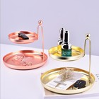 European Gold Round Double Decorative Metal Jewelry Storage Organizer Cosmetic Tray