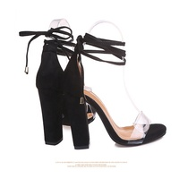 fashion popular hot sales transparent strap suede blocked heel sandals with ankle calceus