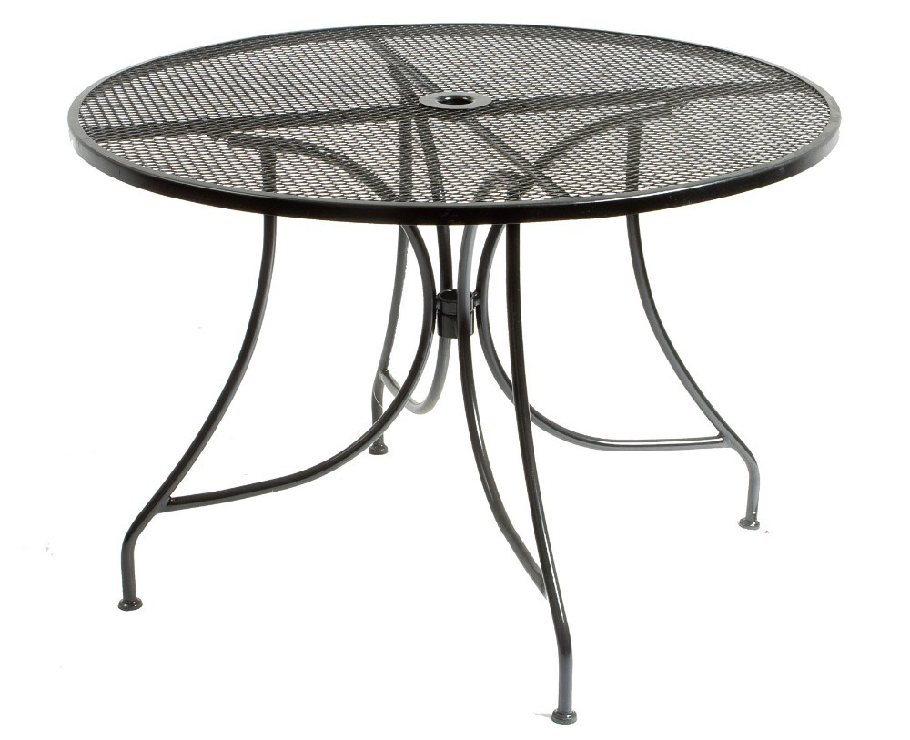 Metal mesh dining round table and chairs outdoor furniture for Metal garden table and chairs