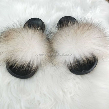 Nice quality women fur slides lady white fur slippers