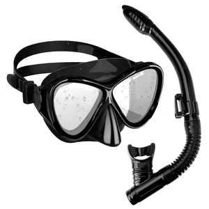 Adult Black Silicone Breathing Smoothly Snorkeling Diving Mask Snorkel Set