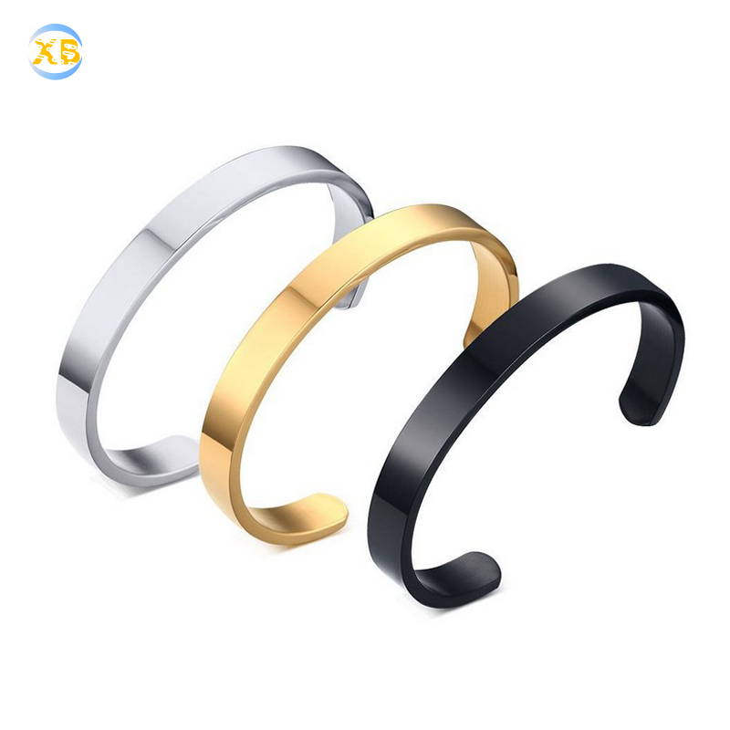 Hot Selling 8mm <strong>C</strong> Stainless Steel Bangle Men and Women Blank Cuff Bracelet Wholesale