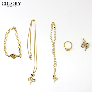 2019 Fashion Women Top Quality 18K Gold Plated bracelet gold ring 2 pieces pendant necklace stud earring gold jewelry sets