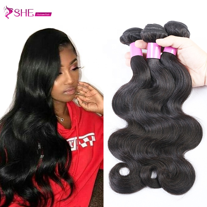 Ishe 9a human hair 100% Virgin indian hair body wave hair bundle with lace closure