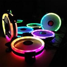 3PCS 3IN1 Rainbow RGB LED 120mm High Performance Case Bearing Cooling Fan <strong>w</strong>/Remote For Computer CPU