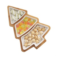 Snack Appetizer Trays Set Dessert Serving Dishes Ceramic Plates with Bamboo Christmas Tree Tray