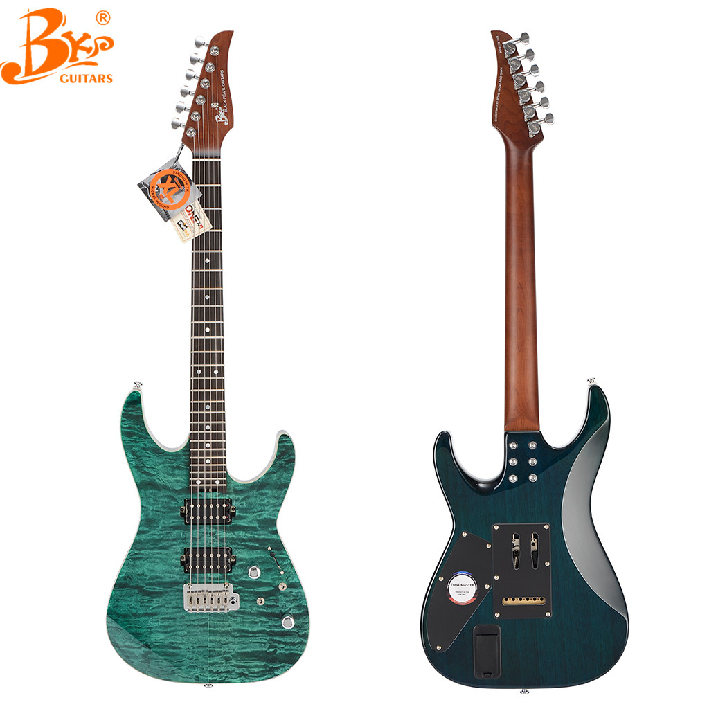 Paylater China Black pearl guitars TM-380 custom build roasted maple neck china electric guitar china factory